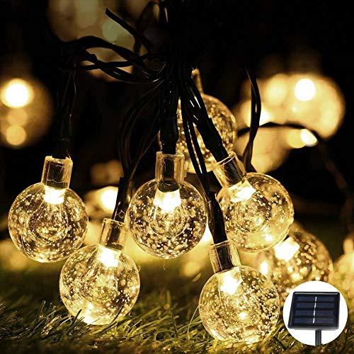 Cadena de luces LED, bolas de cristal, 6,5 metros, 30 LED, luz blanca cálida, impermeable, decoración para jardín, exterior, árboles, Navidad, bodas, fiestas, interior y exterior