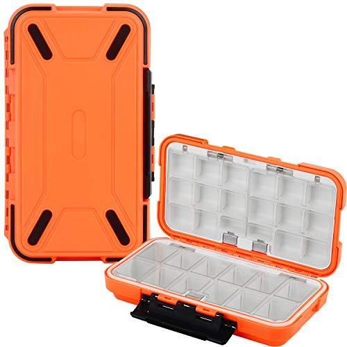 Uniwit Fishing Tackle Box Compact Waterproof Fishing Storage Box, Plastic Fishing Lure Box, Removable Grid Storage Organizer Making Kit for Fishing Lure Hook Beads Earring Container Tool (Orange)