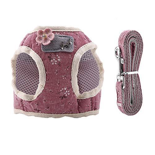 Petyoung Imbracatura per Animali Domestici con Guinzaglio Tracolla Regolabile Traspirante per Gilet da Passeggio per Cuccioli di Cane Medio in Tessuto di Maglia di Cotone per Cani