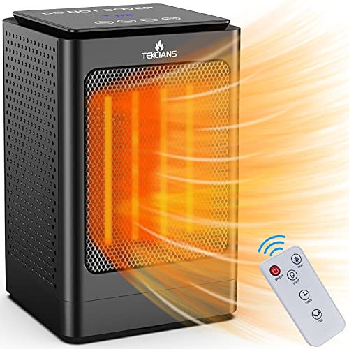 Electric Portable Space Heater - 750W/1500W Adjustable PTC Fast Heating Ceramic Heater Features Built-in Timer and Oscillation, Mini Heater with Remote Control for Bedroom,Desk,Office and Indoor Use