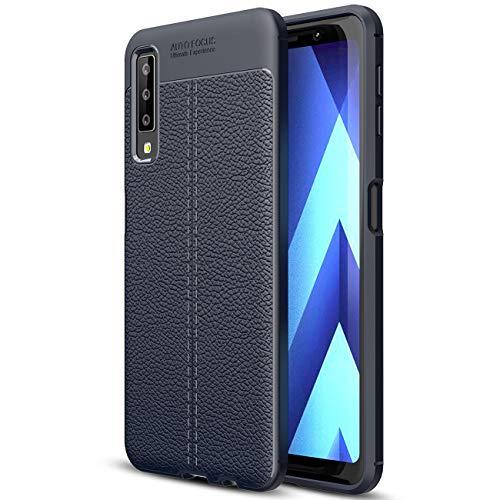 SCIMIN Capa para Samsung Galaxy A7 (2018), capa de couro sintético para Galaxy A7 (2018), capa macia de TPU antiderrapante para Samsung Galaxy A7 de 6 polegadas (2018)