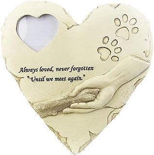 WNGGADH Cadre photo personnalisable pour animal domestique - Pierre commémorative avec cadre photo en forme de cœur - Déco...