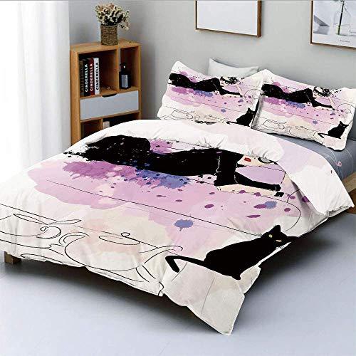 Bettbezug-Set, Mädchen mit Sonnenbrille auf Couch liegend Cat Elegance in Home Theme mit FleckenDekoratives 3-teiliges Bettwäscheset mit 2 Kissen Sham, Schwarz, Kinder & Erwac