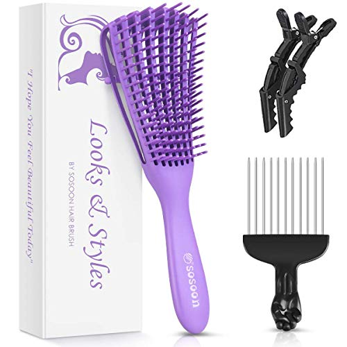 Detangling Brush, Hair Detangler Brush for Natural Hair, Hair Brush Comb for African American 3a to 4c Texture Kinky Wavy/Curly/Coily/Thick/Long/Dry/Wet Hair, Detangling Knots Easily No Pull No Pain