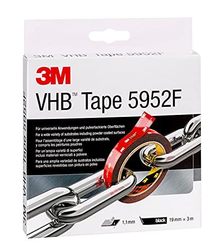 3M VHB Cinta Adhesiva 5952F - óptima adhesión a la mayoría de las pinturas en polvo, metales, vidrio, madera sellada, acrílico, policarbonato, ABS - 19 mm X 3 m, negro, espesor 1.1mm (1 unidad)