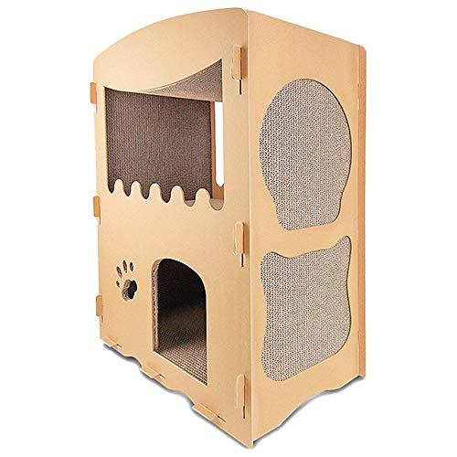 Wellz 爪とぎハウス キャットハウス 2層 猫 ダンボールハウス キャットタワー ダンボール 組み立て式