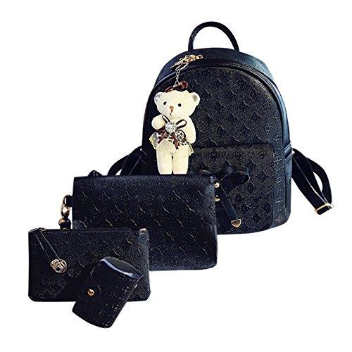 VJGOAL Damen Rucksack, 1 Sätze Frauen Mädchen Mode Rucksack Handtasche Schultertasche Schuleinkaufstasche Crossbody Frau Geschenke (4PCS, U-Schwarz)