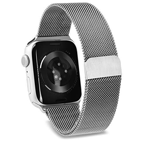 Awatch Correa de repuesto para Apple Watch, correa de acero inoxidable plateada con cierre magnético, compatible con Iwatch Series 1, 2, 3, 4, 5, 6, SE (42 mm/44 mm)