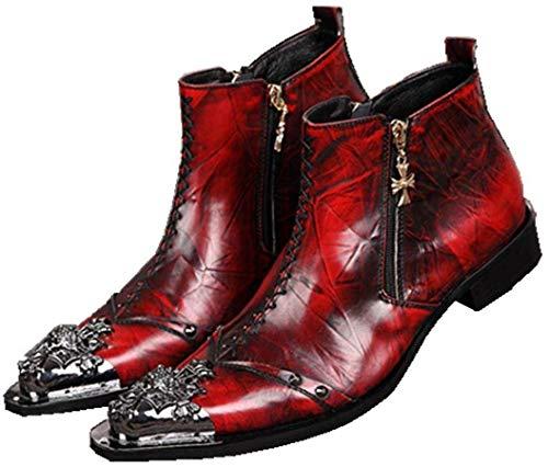 HNMS Boots Herren Cowboystiefel Stiefeletten Cowboy Stiefel Lederstiefel Biker Stiefel Männer Knöchel Stiefel Metall Spitz Rot Abend Party Größe 38-46,Rot,EU41/UK7.5