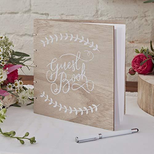 Ginger Ray with White Script Font Libro degli Ospiti per Matrimonio, in Legno, con Scritta Bianca, Beige, 32 Page