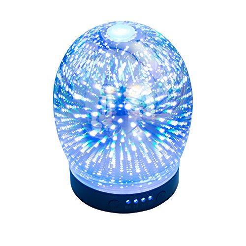 Blueskyvalues 3D Sterne ätherisches Öl Diffusor Aroma ätherisches Öl Cool Nebel Luftbefeuchter Wasserlose automatische Abschaltung und 7 Farben LED-Lichter wechseln für Zuhause oder Büro.