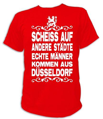 Artdiktat Herren T-Shirt Scheiß auf andere Städte - Echte Männer kommen aus Düsseldorf Größe XXL, rot