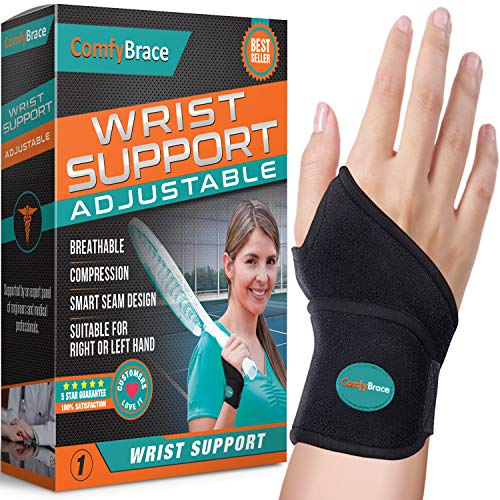 ComfyBrace-Premium Lined Wrist support /Wrist Strap/Carpal Tunnel Wrist Brace/ Arthritis Hand Support -Fits Both Hands-Adjustable Fitted