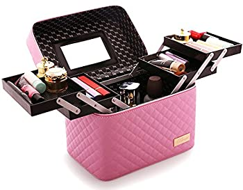 Sooyee Multifunction Travel Cosmetic Bag with Mirror Portable Train Makeup Case 4 Foldable Makeup Tray for Cosmetics Makeup Brushes Toiletry Jewelry Digital accessories  PINK