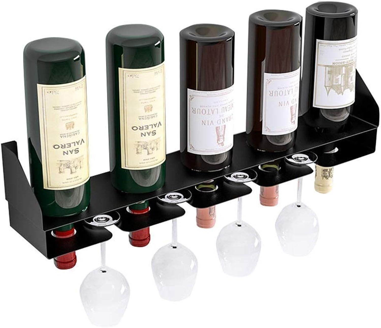YDDZ Estante de Vino de cáliz montado en la Parojo, repisa de Parojo de Hierro y Metal Negro, Estante de Vino de Parojo con 5 Botellas de Vino, 4 Copas de Vino