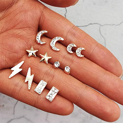 Weiy 7 Paar Mode Stilvolle Mond Sterne Blitz Kristall Ohrstecker Set Mode Chic Charming Punk Ohrringe Set Schmuck Zubehör Geschenk Für Frauen Mädchen
