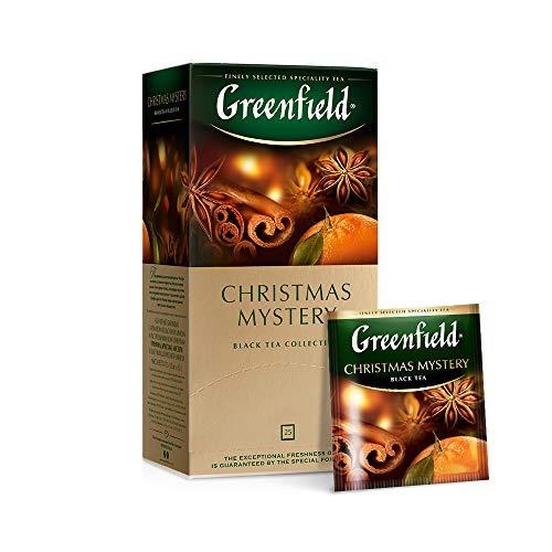 GREENFIELD CHRISTMAS MYSTERY   BEUTEL Schwarztee   Aromatisierter schwarzer Tee aus Kenia   mit Zimt Anis Ingwer Gewürznelke und Apfel, Orangen- und Zitronengeschmack   25...