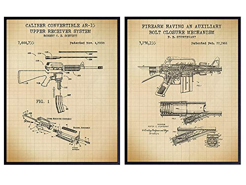 AR-15, M-16 Gun Patent Art Prints - Vintage Weapon Wall Art Poster Set - Home Decor for Man Cave, Office, Living Room, Game, Family Room - Gift for 2nd Amendment, NRA, Military, Firearms, Rifle Fans