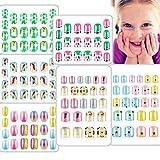 128 PCS Children Press On Nails Cute Fake Nail for Kids Pre Glue Short Full Cover Rainbow Gradient artificial False Nail Kit for Little Girls Decoration Manicure Christmas (Panda Set, 6 Boxes)