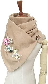 NJTSXLM Women's Winter Long Scarf Embroidered Flowers Warm Cashmere Scarves Foulard Shawls Lady Wraps Blanket Bandana (Color : Camel)