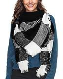 Bukely Sciarpa Donna Inverno Donne Inverno Di Grandi Simensioni Signore Sciarpa Di Cachemire Lattice Grande Sciarpa (Nero)