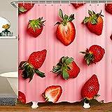 Mädchen Erdbeere Thema Fabric Duschvorhang 180x180cm Tropisch ObstRosa Wasserdicht Badewanne Badvorhang Kinder Jungen Damen Süße Erdbeere Shower Duschvorhang Textil mit Haken Rot Duschvorhang