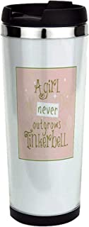 a girl never outgrows Tinkerbell Stainless Steel T Stainless Steel Travel Mug, Insulated 14 oz. Coffee Tumbler