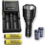 Bundle: Nitecore P30 1000Lm LED Flashlight + 2x Nitecore NL1835, D2 Charger, 2x FREE Eco-Sensa CR123A Batteries