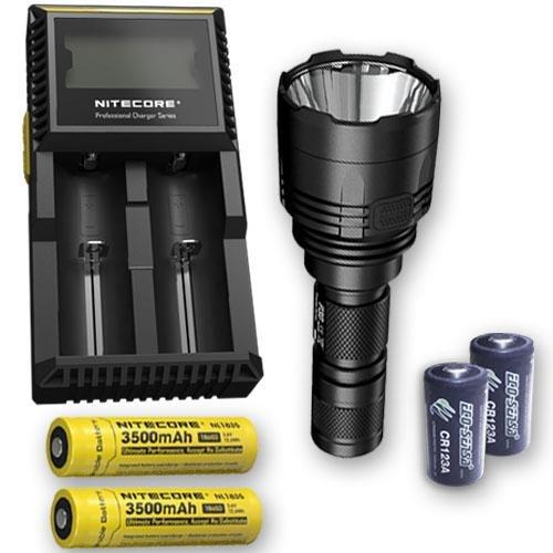Paquete: Nitecore P30 1000 lm linterna LED + 2 Nitecore NL1835, D2 cargador, y 2 baterías Eco-Sensa CR123A