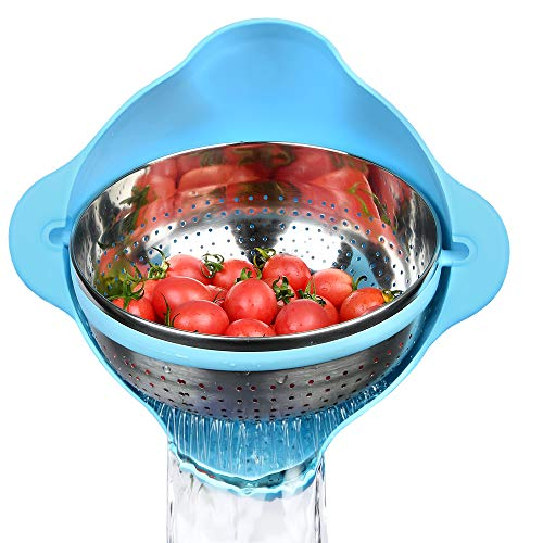 Supkiir Stainless Steel Colander Collapsible Self-draining Strainer Washing Bowl with Handle for Rice Salad Fruit Vegetable Pasta Spaghetti Grains