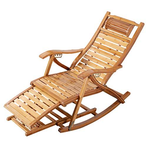 Chaise Longue Bamboo Sun Lounger Zero Gravity Balcony Inclinable, Bamboo with Telescopic Foot Pedal Sun Lounger Outdoor Garden Patio Gravity Reclining Chair