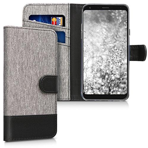 kwmobile Hülle kompatibel mit LG Q7 / Q7+ / Q7a (Alpha) - Kunstleder Wallet Hülle mit Kartenfächern Stand in Grau Schwarz