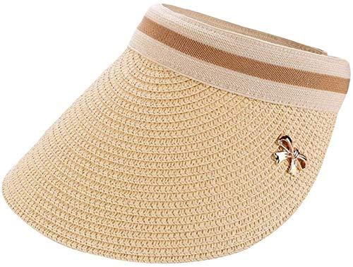SGHKKL Sombrero de Paja del Verano de los nuevos niños de Mar Muchacha turística de Big niño al Aire Libre Sombrero Superior vacío del Sombrero de Sun del Visera de Sun (Color : Beige)
