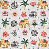 Weißer Stoff mit Elefanten Palmen und Blumen von Stof