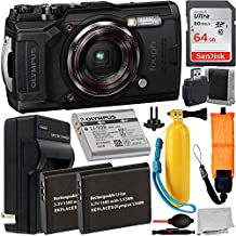 Olympus Tough TG-6 Digital Camera (Black) with Essential Accessory Bundle – Includes: SanDisk Ultra 64GB SDXC Memory Card + 2X Extended Life Seller's Replacement Batteries with Charger + More