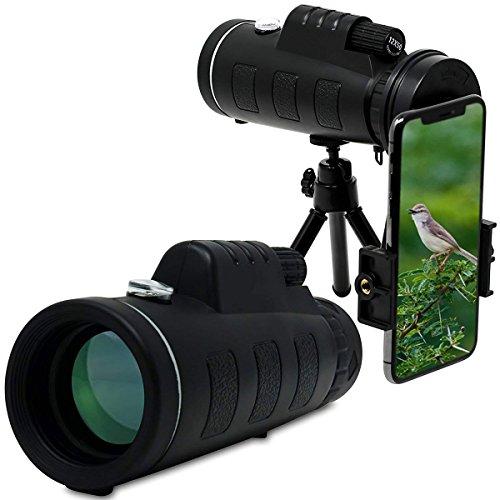 XHHWZB Télescope monoculaire - Portée de Prisme de la Puissance 12x50 Élevée avec l'adaptateur Rapide de Bâti de Smartphone et Le Trépied - pour Le Voyage extérieur de Faune de Sports