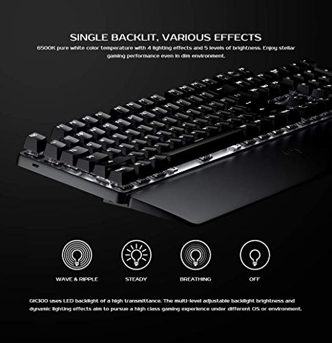 GameSir GK300 Wireless Mechanical Gaming Keyboard 2.4 GHz + Blutooth Connectivity, 1ms Low Latency, Aluminium Alloy Top Plate, Anti-ghosting for PC/iOS/iPad/Android Smartphone/Laptop and Mac