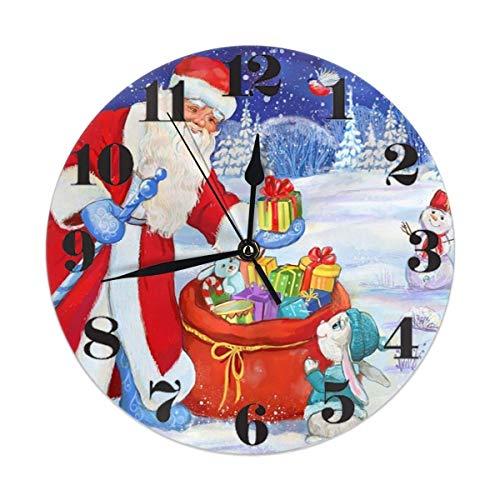 ALLdelete# Wall Clock Winterferien Weihnachten Santa Snowman Rabbit Runde Wanduhr Lautlos, Nicht tickend, batteriebetrieben Einfach zu lesen für Schüler Büro Schule Home Dekorative Uhr Kunst