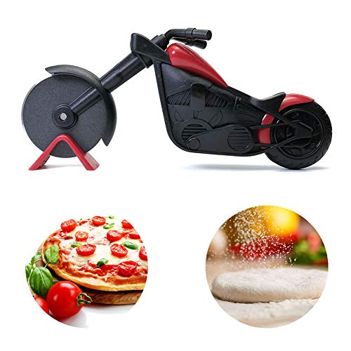 IMAKARA Motorcycle Pizza Cutter Slicer Wheel With Non-Stick Layer Stainless Steel Cutting Funny Gifts