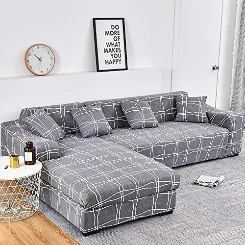 WXQY Funda de sofá elástica en Forma de L Funda de sofá elástica de algodón para Sala de Estar Funda de sofá a Prueba de Polvo Completa Funda de sillón A12 3 plazas