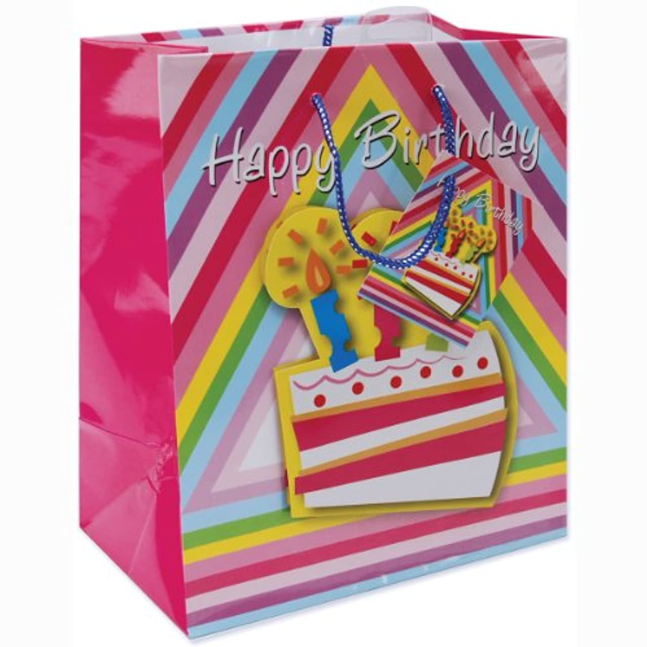 Cindus Gift Bags, 10-1/2 by 5-3/8 by 13-Inch, Birthday Cake