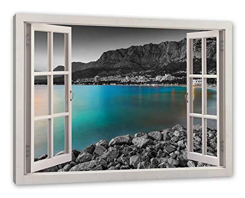 Pixxprint Strand in Makarska Kroatien, Fenster Leinwandbild |Größe: 120x80 cm | Wandbild | Kunstdruck