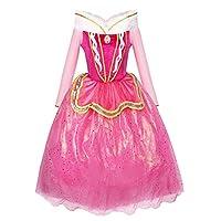 Dans cette robe, votre petite fille peut se transformer en n'importe quel personnage de son propre monde de fantaisie Le costume est parfait pour se déguiser en princesse, La Belle au Bois Dormant ou la fée La robe rose avec jupe en tulle apportera d...