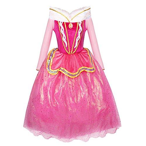 Katara 1742 - Robe de La Belle au Bois Dormant Costume d'Aurore, Robe Rose en Tulle Déguisement pour Filles de 7-8 Ans, Taille 128/134