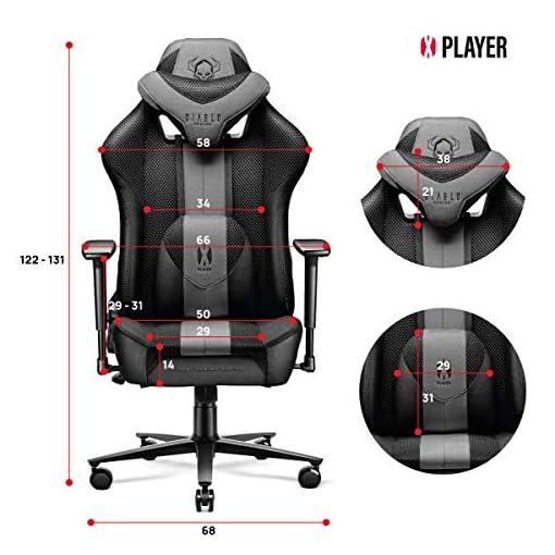Diablo X-Player 2.0 Silla Gaming Oficina Apoyabrazos 3D Diseño Ergonómico Cuello/Cojín lumbar (Antracita-Carmesí, Normal… 8