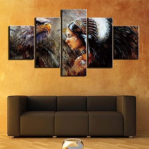 IILSZMT Cuadro Lienzo Guerrero Indio Americano con Águila 150Cmx80Cm Impresión De 5 Piezas Material Tejido No Tejido Impresión Artística Gráfica Modernos Mural Fotos Decoracion