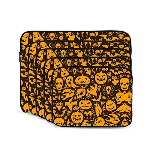 KUUDJIT Halloween Ghost Devil Pumpkin Cat 12/13/15/17 Inch Laptop Sleeve Bag for MacBook Air 13 15 MacBook Pro Portable Zipper Laptop Bag Tablet Bag,Diving Fabric,Waterproof