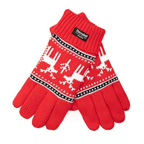 EEM Kinder Strick Handschuhe X-Mas Kids aus Baumwolle mit Thinsulate Thermofutter aus Polyester rot Hirsch L
