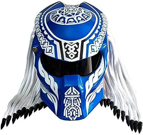 MOMOJA Casco De Motocicleta Fibra De Carbono, Casco Integral para Hombre, Casco Modular Integral con Certificación De Seguridad ECE Blue,L 🔥