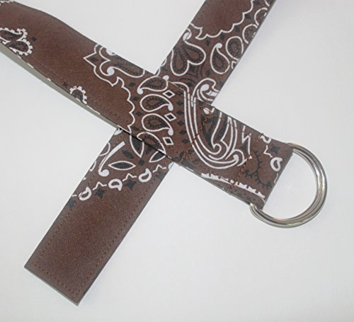 Bandana D-ring Belt made with actual Bandanas. Brown. X-Large.